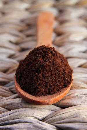 expressed: Italian coffee powder on a wooden spoon Stock Photo
