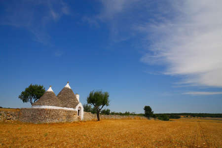 trulli: Beautiful Apulia countryside with typical trulli farm house, Italy