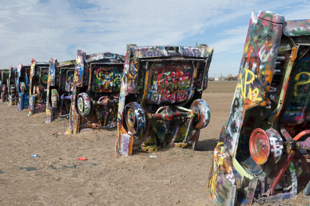 Cadillac Ranch is a public art installation and sculpture in Amarillo , Texas , US It was created in 1974 by Chip Lord , Hudson Marquez and Doug Michels Stock Photo