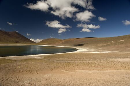 volcan: Laguna Miscanti located at 4350 meters and Volcan Miniques in the Antofagasta Region of northern Chile
