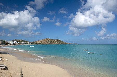 creole: Grand Case is a coastal community and beach on the French side of the island of Saint Martin in the Caribbean. It lies on the west coast of the island Stock Photo