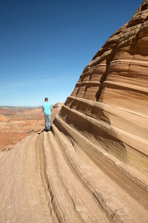 paria canyon: The Paria Canyon-Vermilion Cliffs Wilderness is a 112,500 acres 455 km2 wilderness area located in northern Arizona and southern Utah, USA, within the arid Colorado Plateau region. The wilderness is composed of broad plateaus, tall escarpments, and deep c Stock Photo