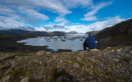 lagoon: Hoffellsjokull Glacier Lagoon, Iceland Stock Photo