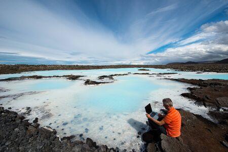 therapy geothermal: Man at work, Reykjavik, Iceland