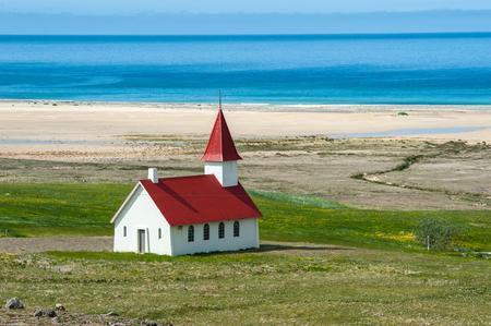 Breidavik church in Patrekfjordur, Westfjords, Iceland