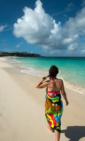 indies: Woman in Barnes bay, Anguilla, English West Indies Stock Photo