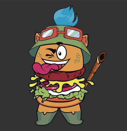 LoL Teemo 샌드위치 만화 음식 게임. 일러스트