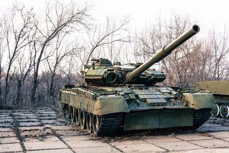 Green military tank Stock Photo