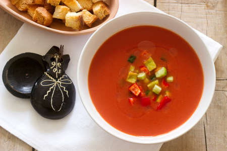 Gazpacho is a soup made of raw vegetables and served cold.