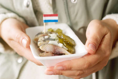 Dutch herring with onion and pickled cucumber in the womens hands. Selective focus. Reklamní fotografie
