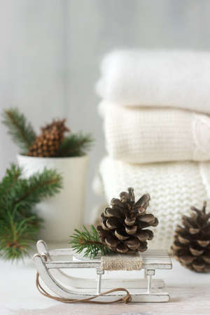 Winter concept with white blanket pullover, gloves, sleds, cup, cones and fir branches. Selective focus.