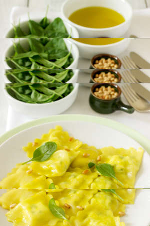 Ravioli with ricotta and spinach, served with olive oil and pine nuts. Rustic style, selective focus.