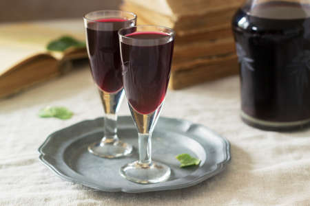 Cream de Cassis homemade blackcurrant liqueur in small glasses, books and flowers. Rustic style. Stock Photo