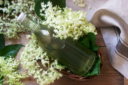 Homemade syrup of elderberry flowers in a glass jar and elder branches on a wooden table Rustic style, selective focus.