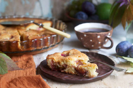 Plum pie or cake with cinnamon and sugar. Rustic style, selective focus. Stock Photo