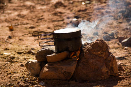 Cooking in the camp with firewood