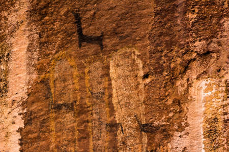 Rock Paintings in Inca Cave clsoe to Humahuaca in Jujuy Province, north of Argentina 版權商用圖片