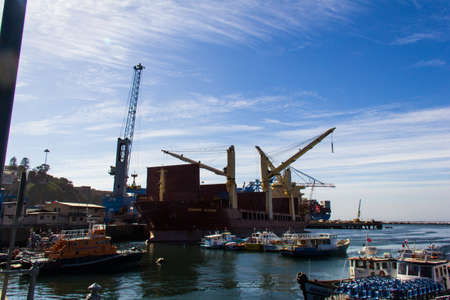 The busy cargo seaport in South America in Valparaiso, Chile. It is the most important seaport in Chile. Editorial