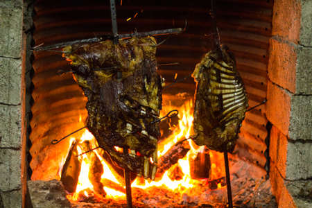 Roasted Cow and lamb on the fire