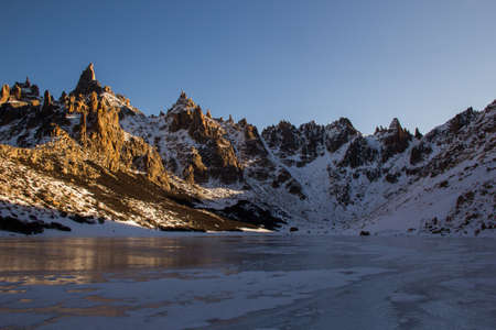 Frey Hike Mountain and frozen lake refuge in Bariloche - Argentina, Patagonia