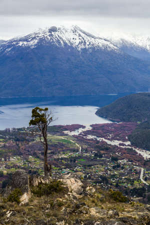 Panoramic view of the Andes mountain range from a viewpoint in Lago Puelo near Bariloche in Argentina Imagens