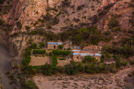 View of Iruya village and multicolored mountains in the surroundings at sunset, Salta province, Argentina, iruya - San Isidro - San Juan treeking Banco de Imagens