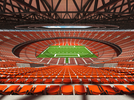 3D render of a round football stadium with orange seats for hundred thousand people with VIP boxes