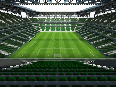 3D render of a large capacity soccer - football Stadium with an open roof and green seats
