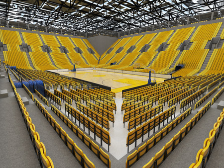 floodlights: Beautiful sport arena for basketball with floodlights and yellow seats and VIP boxes for ten thousand people Stock Photo