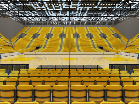 Beautiful sport arena for basketball with floodlights and yellow seats and VIP boxes for ten thousand people Stock Photo