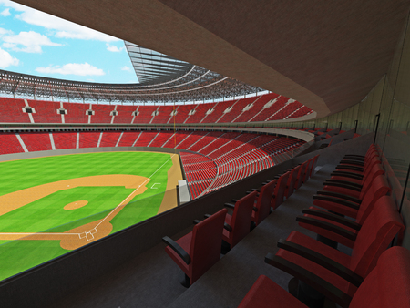 floodlights: 3D render of baseball stadium with red seats, VIP boxes and floodlights for hundred thousand people