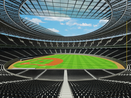 3D render of baseball stadium with black seats, VIP boxes and floodlights for hundred thousand people