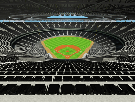 floodlights: 3D render of baseball stadium with black seats, VIP boxes and floodlights for hundred thousand people