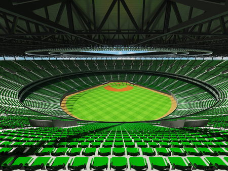 floodlights: 3D render of baseball stadium with green seats, VIP boxes and floodlights for hundred thousand people Stock Photo