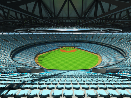 3D render of baseball stadium with sky blue seats, VIP boxes and floodlights for hundred thousand people Stock Photo