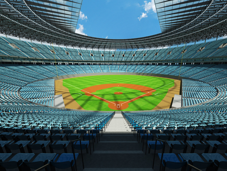 floodlights: 3D render of baseball stadium with sky blue seats, VIP boxes and floodlights for hundred thousand people Stock Photo