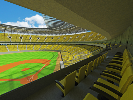 floodlights: 3D render of baseball stadium with yellow seats, VIP boxes and floodlights for hundred thousand people