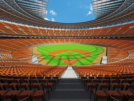 floodlights: 3D render of baseball stadium with orange seats, VIP boxes and floodlights for hundred thousand people Stock Photo