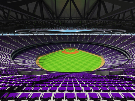 3D render of baseball stadium with purple seats, VIP boxes and floodlights for hundred thousand people Stock Photo