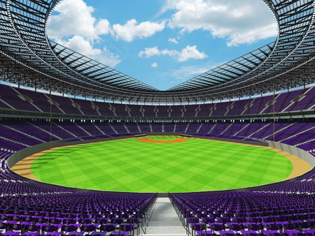 floodlights: 3D render of baseball stadium with purple seats, VIP boxes and floodlights for hundred thousand people Stock Photo