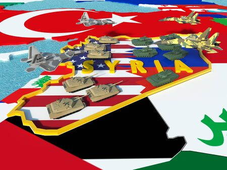 syria peace: Map of Syria divided with USA and Russia flags with surrounding countries - 3D render
