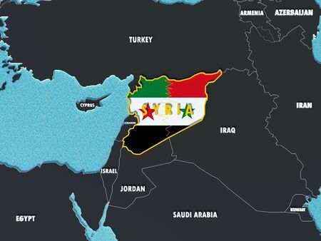 syria peace: Map of Syria divided with government and rebel flags with surrounding countries - 3D render