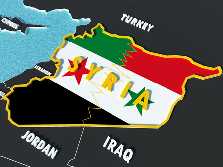 Map of Syria divided with government and rebel flags with surrounding countries - 3D render