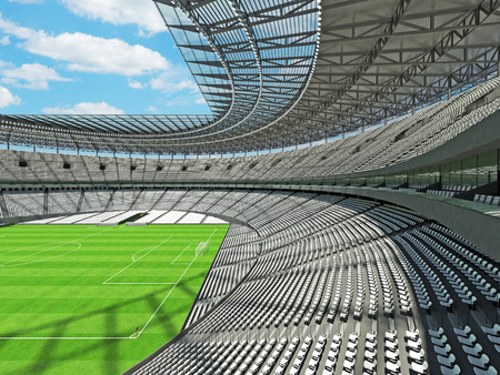 3D render of a round football - soccer stadium with white seats for hundred thousand people with VIP boxes Stock Photo