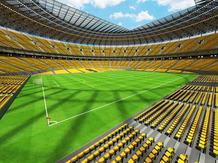 3D render of a round football -  soccer stadium with  yellow seats and VIP boxes for hundred thousand people Stock Photo
