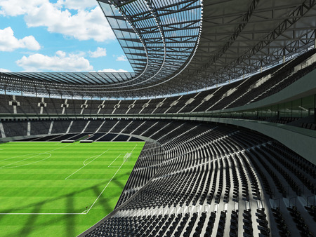 3D render of a round football -  soccer stadium with  black seats and VIP boxes for hundred thousand people