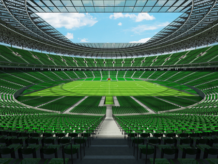 3D render of a round football -  soccer stadium with  green seats and VIP boxes for hundred thousand people
