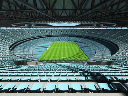 3D render of a round football - soccer stadium with sky blue seats for hundred thousand people with VIP boxes