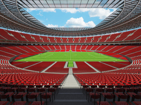 3D render of a round football -  soccer stadium with red seats and VIP boxes for hundred thousand people
