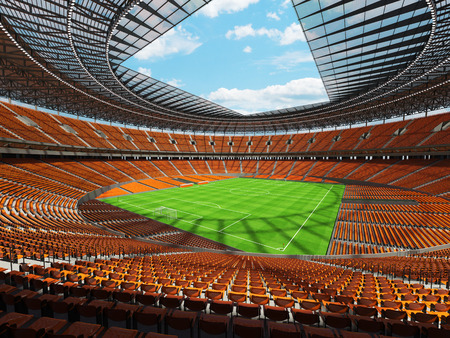 3D render of a round football -  soccer stadium with  orange seats and VIP boxes for hundred thousand people